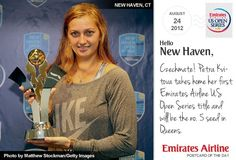 """Today's postcard reads: """"Czechmate! Petra Kvitova takes home her first Emirates Airline US Open Series title and will be the no. 5 seed in Queens."""""""