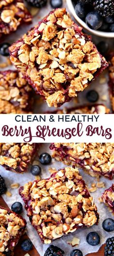 Healthy and Clean Berry Streusel Bars made with oats, almond butter, honey, and lot of berries. The perfect combination of clean ingredients make up these delicious streusel bars.