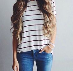 Ombre hair striped shirt