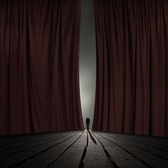 The Final Scene (12x12 in). The Final Scene by Philip McKay fuses the timeless elegance of black and white photography with the bold drama of Surrealist art. This piece features a man alone on a stage as thick red stage curtains pull apart to expose him. This piece is one of few to.