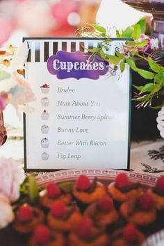 Cupcakes Menu designed by Brightly Designed Stationery