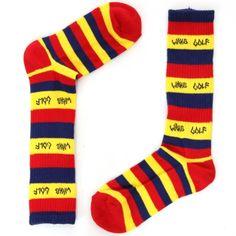 Red, yellow, and blue Golf Wang socks. Killa.