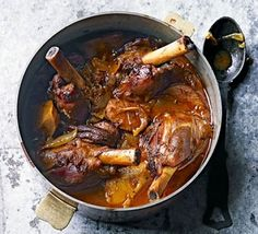 Sweet spiced lamb shanks with quince - A cross between a Persian stew and Moroccan tagine - the spices in this slow cooked one-pot are mellow. Serve with rice, couscous or flatbreads Lamb Recipes, Meat Recipes, Slow Cooker Recipes, Cooking Recipes, Recipies, Slow Cooking, Quince Recipes, Slow Cooked Lamb, Lamb Dishes
