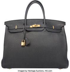 Hermes 40cm Black Clemence Leather Birkin Bag with Gold Hardware.P Square, 2012. Good to Very Good Condition.15....
