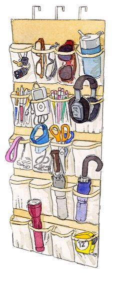 Keep the basics you reach for as you head out — keys, umbrella, a dog leash — in a clear over-the-door shoe rack. Or think of it as a more-organized junk drawer, where you can stash batteries, rubber bands, or flashlights.