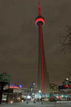 Showing our Olympic pride, check out the CN Tower lit in red this week to celebrate all our Canadian athletes at the Olympic Games in Sochi! / Affichons toute notre fierté pour nos Olympiens : la Tour est illuminée en rouge cette semaine pour marquer notre fierté et soutien pour les athlètes canadiens durant les Jeux olympiques à Sochi!