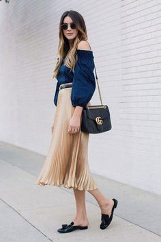 spring outfit, fall outfit, casual outfit, comfy outfit, night out outfit, street style, street chic style, fall trends 2016 - denim off the shoulder top, metallic pleated midi skirt, black flat mules, black shoulder bag, round sunglasses, black belt