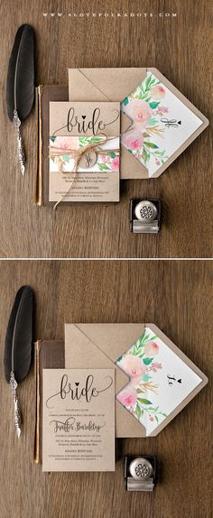Handmade Eco friendly Bridal Shower Invitations #floral #watercolor #romantic…