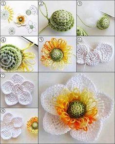 Diy Crochet Flowers, Crochet Puff Flower, Crochet Daisy, Crochet Flower Tutorial, Crochet Flower Patterns, Irish Crochet, Diy Flowers, Easy Crochet, Knitted Flowers