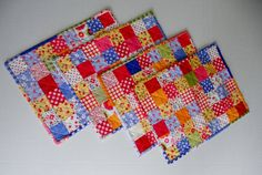 Quilted Placemats Retro Vintage Style by ForgetMeNotQuilteds