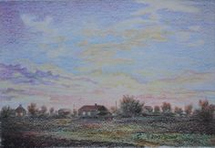 Василий Россин (Vasily Rossin), Закат в деревне Sunset Village2015 г.Бумага, карандашPencil, paper32 х 22