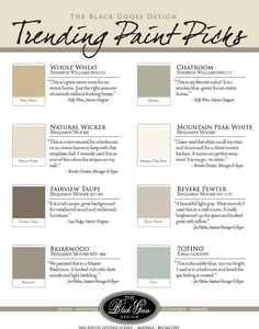 paint colors – love chatroom and can't wait to see what natural wicker (for family room) and tofino (for master) look like in my house.
