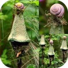 Daily Colours : Fairy Houses - DIY Egg Carton Fairy Bird Houses or Lamp Posts Fairy Crafts, Garden Crafts, Garden Art, Fairy Furniture, Garden Terrarium, Fairy Garden Houses, Fairy Garden Accessories, Fairy Doors, Miniature Fairy Gardens