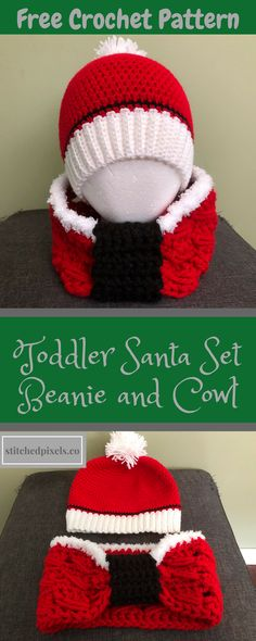 Keep your little ones adorable (and warm) in this Santa Inspired Set. The free crochet pattern for the hat is available in toddler and child sizes, and the cowl is in child and adult sizes, so you can get in on the fun too! The child size cowl actually makes a great adult size ear warmer as well!