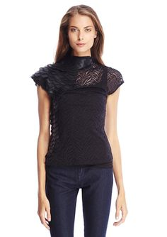 On ideeli: GRACIA Cap Sleeve Sheer Top with Faux Leather Detail