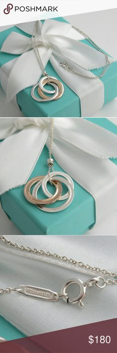 Tiffany & Co Rubedo Interlocking Circles Necklace Authentic Tiffany & Co. 1837 collection silver rubedo metal interlocking rings necklace. Polished with Tiffany polish like new. Come with box, pouch and ribbon.  Size: approximately 18 inches in length Hallmark: 1837 /  T&Co / NY (Front of Interlocking Circles) T & Co / AG / 925 ; 2012 Metal  (on Back of interlocking circles) Tiffany & Co. Jewelry Necklaces