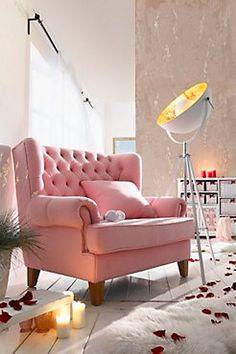 Sessel Miss Lilly, 1,5-Sitzer, rosa   XL Chair   Sessel in XL-Größe Geeignet für 1 bis 2 Personen Mit geknöpfter Rückenlehne und extra Kissen   Weltbild