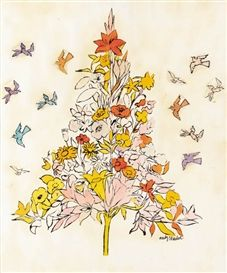 Artwork by Andy Warhol, Floral Bouquet and Birds ㊗️ART AND IDEAS : More At FOSTERGINGER @ Pinterest  ㊙️㊗️
