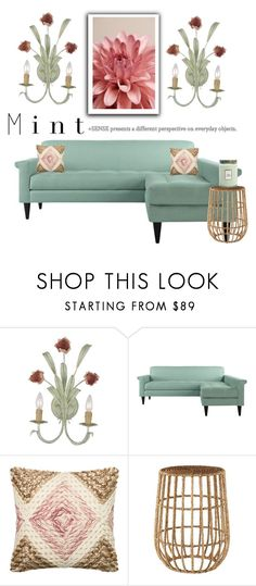 """""""Mint Living Room"""" by conch-lady ❤ liked on Polyvore featuring interior, interiors, interior design, home, home decor, interior decorating, Loloi Rugs, Selamat Designs, Voluspa and living room"""