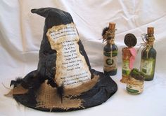 Primitive Halloween Decoration WITCH HAT and POTION Bottles Shakespeare Macbeth. $45.00, via Etsy.