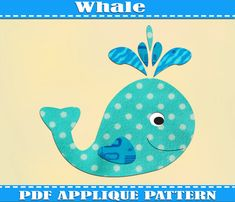 Whale Applique Template PDF Pattern Swimming Whale Applique Design Toddler Whale Shirt Kids Clothing Tops Ocean Quilt Pattern Printable