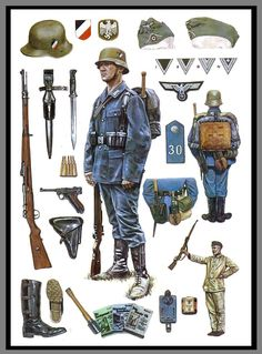 Bild - Weltkriege (World War) - Military Gear, Military Weapons, Military History, Military Uniforms, German Soldiers Ww2, German Army, Military Drawings, German Uniforms, Modern History