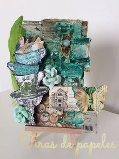 Do We Have Some Winners? Mixed Media Canvas, Mixed Media Collage, Mixed Media Techniques, Handmade Tags, Layout Inspiration, Easel, Altered Art, Mini Albums, Decorative Boxes