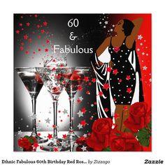 Rosas rojos Martini del 60.o cumpleaños fabuloso Invitación 13,3 Cm X 13,3cm