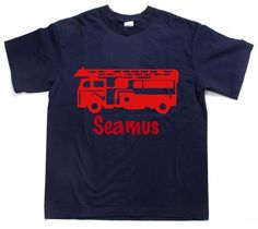 Fire Engine Truck with name Personalized Kid's t-shirt tee shirt t shirt - many colors and sizes great for  birthday party theme too by Ilove2sparkle on Etsy https://www.etsy.com/listing/253699500/fire-engine-truck-with-name-personalized
