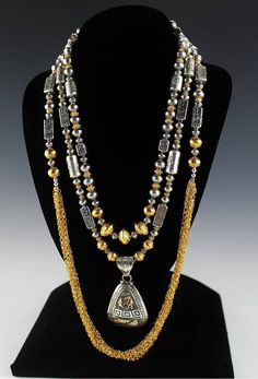 149d1fab373b Light Up the Night with Spectacular Sterling and Gold Vermeil Necklace Set  by WhiteFoxTradingCo on Etsy
