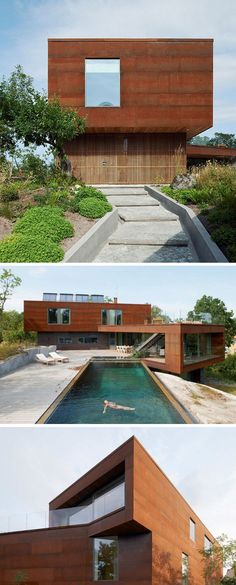 Large forms covered in weathering steel make up this modern villa and give it a low maintenance exterior that will change appearance over time.