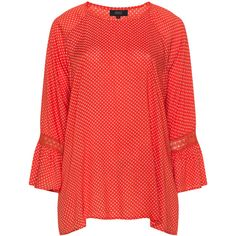 Zhenzi Red Plus Size Polka dot print crochet lace top ($40) ❤ liked on Polyvore featuring tops, plus size, red, plus size crochet lace top, womens plus tops, plus size tops, plus size red tops and red polka dot top