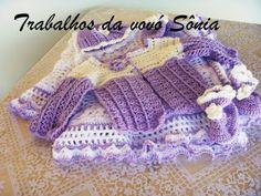 Trabalhos da vovó Sônia: Conjunto completo para bebê lilás e branco- crochê...
