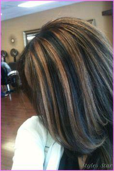 Balayage Black Hair With Caramel Highlights Black Hair Caramel Highlights, Chunky Blonde Highlights, Caramel Hair, Hair Highlights, Carmel Highlights, Color Highlights, Medium Hair Styles, Curly Hair Styles, Hair Color And Cut