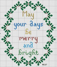 Free Merry and Bright Christmas Counted Cross Stitch Pattern - Free Printable Color Cross Stitch Pattern - Christmas Chart - Free Cross Stitch Graph