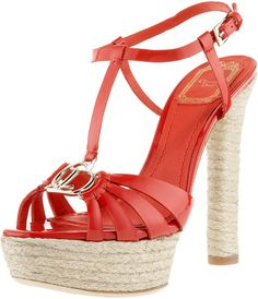 * Dior Tomato Red Patent Leather Espadrille Stacked Heel Platforms