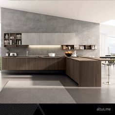 Lain Multisystem. A warm cosy atmosphere with the strong texture of the original TSS thermo structured cement finish matched with elm cortex NT. Euromobil Kitchens. www.Altus.me #LuxuryFurniture #InteriorDEsign #Luxury #Design #LuxuryDesign #Kitchen #Kitchens #ItalianKitchens #MadeInItaly #Modern #organization