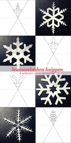 Snowflakes cut - 4 templates Informations About Sjablonen om sneeuwvlokken te knippen Pin You can ea Winter Diy, Winter Crafts For Kids, Diy For Kids, Diy Crafts To Do, Paper Crafts, Christmas Crafts, Christmas Decorations, Paper Snowflakes, Kirigami
