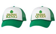 Irish king queen couples hat st patricks day irish drunk shamrock dual color trucker cap beer pint pride of Ireland one size valocap