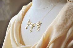 Gold Hydrangea Flowers Bib Necklace  Statement by YsmDesigns