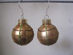 Christmas Earrings Gold Christmas Bulb Earrings by SmithNJewels, $8.99