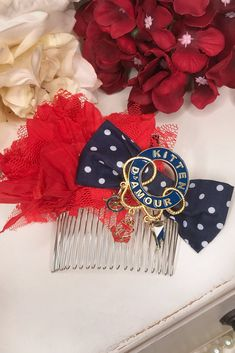 Perfect to match with your favourite 'Abandon Ship' outfit: A lovingly handmade Kitten hair comb featuring a red lace flower and spotted bow finished with Abandon Ship Trinket. Only created in limited quantities! Abandoned Ships, Lace Flowers, Red Lace, Hair Comb, 4th Of July Wreath, Kitten, Bows, Create, Outfit