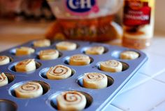Mini Cinnamon Rolls - made with cresent dough and baked in mini muffin tins. Maple frosting recipe too!