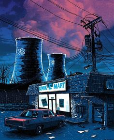 Artist Tim Doyle has produced a series of evocative, moody illustrations featuring locations from around The Simpsons' Springfield as seen at night. Homer Simpson, The Simpsons, Simpsons Springfield, Kwik E Mart, Les Sopranos, Comic Anime, Spoke Art, Films Cinema, Fan Art