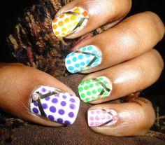 polka dot flip flop nail art.