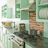 Are you reminded of your grandmother's kitchen when you see mint green cabinets? The color mint is definitely a little retro-feeling, but like all things vintage, at some point it's bound to make a comeback. These kitchens are trying to make mint modern and fresh, either as a full-on color scheme or a subtle, muted accent. What do you think of the look? Would you go for mint in your kitchen?