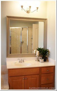 Very descriptive instructions to frame a bathroom mirror