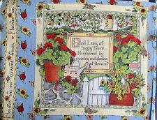 "Susan Winget fabric panel pillow block garden set four scenes gardening  16"" sq"
