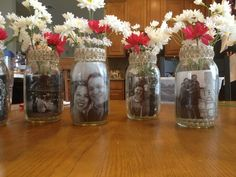 Bridal shower center pieces with mason jars!!