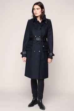 Manteau marine Light Compact Coat The Kooples ceinturé empiècements cuir noir prix Manteau Femme Monshowroom 495.00 €